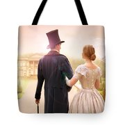 Victorian Couple Walking Towards A Country Estate Tote Bag