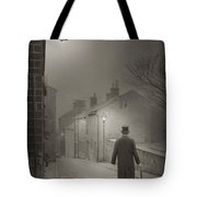 Victorian Or Edwardian Gentleman Walking Down A Cobbled Road At  Tote Bag