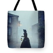 Victorian Woman With An Oil Lamp At Night On A Cobbled Street Tote Bag