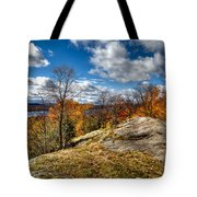 View From The Eagle Bay Rocks Tote Bag