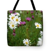 View Of Daisy Flowers In Meadow Tote Bag