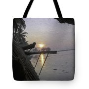 View Of Sunrise From The Window Of A Houseboat Tote Bag