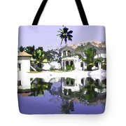 View Of The Cottages And Lagoon Water In Alleppey Tote Bag