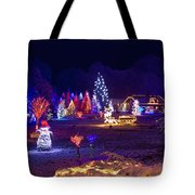 Village In Christmas Lights Panoramic View Tote Bag