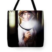 Vintage Archaeologist With Large Magnifying Glass Tote Bag
