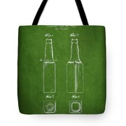 Vintage Beer Bottle Patent Drawing From 1934 - Green Tote Bag