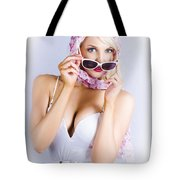 Vintage Blond Beauty In Pinup Fashion Accessories Tote Bag