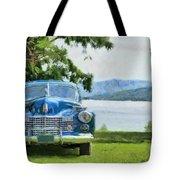 Vintage Blue Caddy At Lake George New York Tote Bag