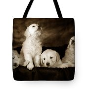 Vintage Festive Puppies Tote Bag