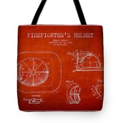 Vintage Firefighter Helmet Patent Drawing From 1932 Tote Bag