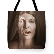 Vintage Halloween Portrait. Gothic Vampire Girl Tote Bag