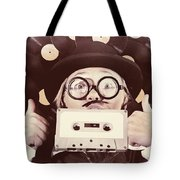 Vintage Music Woman Giving Thumb Up To Retro Songs Tote Bag