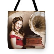 Vintage Pin-up Girl Listening To Record Player Tote Bag
