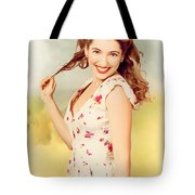 Vintage Pinup Woman With Pretty Make-up And Hair Tote Bag