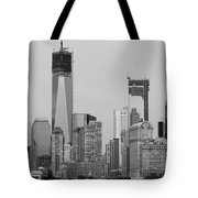 1 W T  C  And Lower Manhatten In Black And White Tote Bag