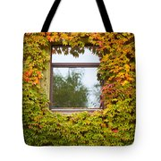 Wall Overgrown With Fall Colored Vine And Ivy Tote Bag