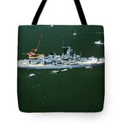 War Ship In New York Harbor, New York Tote Bag