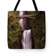 Waterfall In A Forest, Multnomah Falls Tote Bag