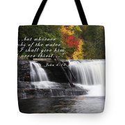 Waterfall With Scripture Tote Bag