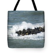 Wave On The Rocks Tote Bag