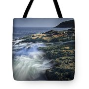 Waves Crashing Against The Shore In Acadia National Park Tote Bag