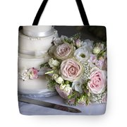 Wedding Bouquet And Cake Tote Bag