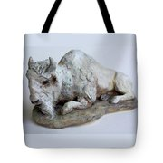White Buffalo-sculpture Tote Bag by Derrick Higgins