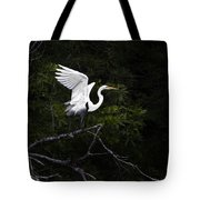White Egret's Takeoff Tote Bag