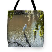 White Heron In Magnolia Cemetery Tote Bag