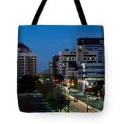 Wichita Skyline At Dusk From Waterwalk Tote Bag