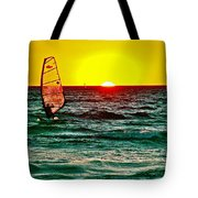 Windsurfer At Sunset On Lake Michigan From Empire-michigan  Tote Bag