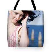 Windy Hair Woman Tote Bag