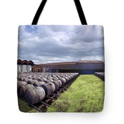 Winery Wine Barrels Outside Clouds Panorama Tote Bag