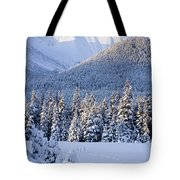 Winter Scenic Of Snowcovered Spruce Tote Bag