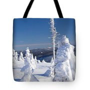 Winter View Of Snow Covered Trees Tote Bag