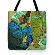 Woman Artisan At Mosaic School In Madaba In Jordan  Tote Bag