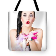 Woman Blowing Feathers Tote Bag