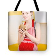 Woman Drinking Coconut Milk In Kitchen Tote Bag