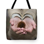 Woman Holding A Chestnut Tote Bag