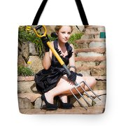 Woman Holding Pitchfork Tote Bag