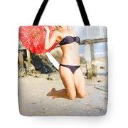 Woman In Bikini Jumping Tote Bag