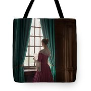 Woman In Georgian Period Dress Reading A Letter By The Window Tote Bag