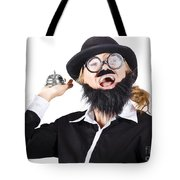 Woman In Mens Clothes With Service Bell Tote Bag