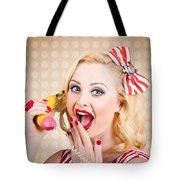 Woman On Banana Telephone. Health Eating News Tote Bag