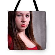Woman Red Dress Tote Bag