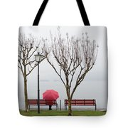 Woman Sitting On A Bench Tote Bag