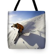 Woman Skiing At Sunset, Chile Tote Bag