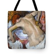 Woman Sponging Her Back Tote Bag