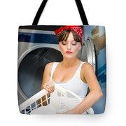 Woman Washing Clothes Tote Bag
