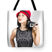 Woman With An Old Camera Tote Bag